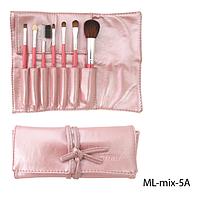 Набор кистей для макияжа ML-mix-5A - 7шт (ворс: соболь,нейлон) в мягком чехле на завязках (розовый)  Lady Victory