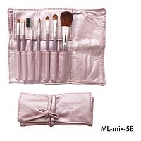 Набор кистей для макияжа ML-mix-5B - 7шт (ворс: соболь,нейлон) в мягком чехле на завязках (лиловый)  Lady Victory