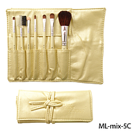 Набор кистей для макияжа ML-mix-5C - 7шт (ворс: соболь,нейлон) в мягком чехле на завязках (желтый)  Lady Victory