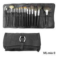 Набор кистей для макияжа ML-mix-9 - 21шт (ворс: соболь,нейлон) в мягком чехле с пряжкой (черный)  Lady Victory