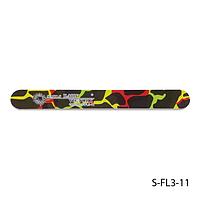 Пилка Lady Victory S-FL3-11 с наждачным напылением, прямая, черная с цветными разводами (180/180)