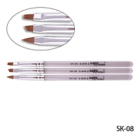 Набор кистей SK-08  для геля и акрила (нейлон, 3 шт)