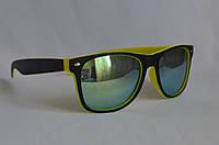 Солнцезащитные очки унисекс  Wayfarer Хамелеон матовый желто-черный, фото 1
