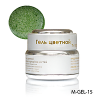 Гель цветной Lady Victory M-GEL-15 перламутровый с блестками - 7 г (Зеленый),