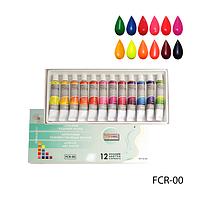 Акриловые краски в тубе FCR-00 флуорисцентные (12 цветов по 12 мл),