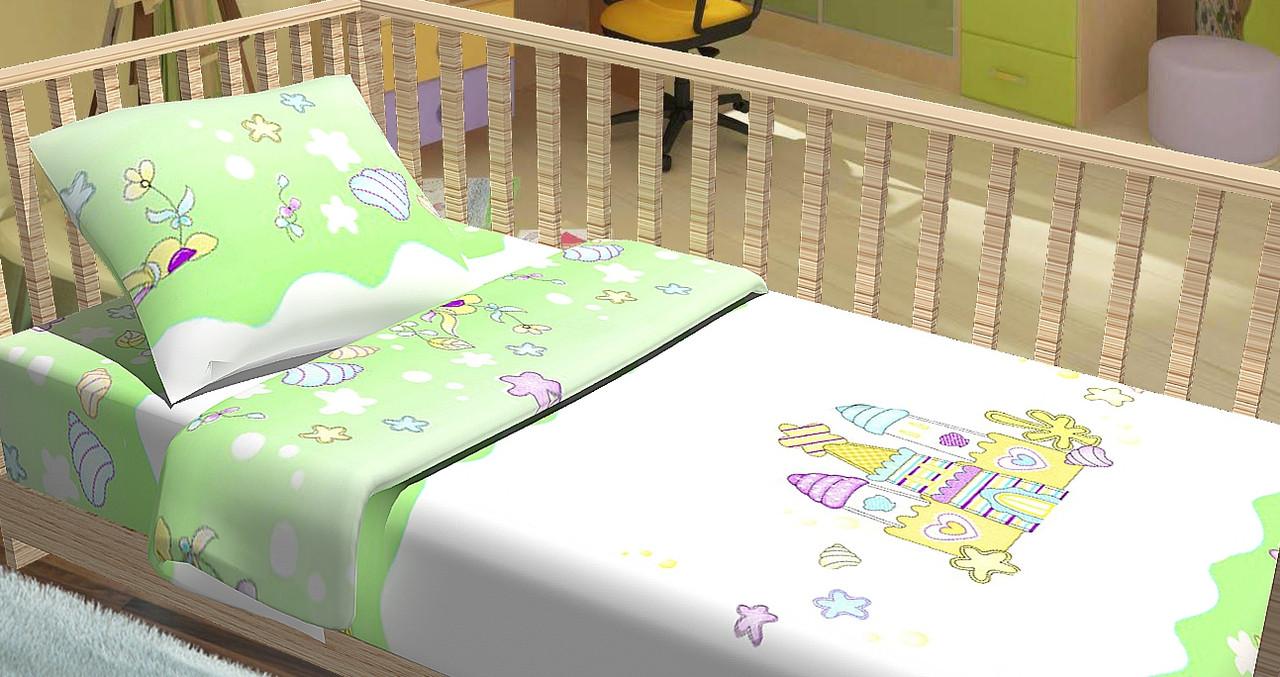 Сменный постельный комплект в кроватку «Замок» (Салатовый), Top Dreams