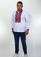 Вышитая мужская рубашка крестиком с длинным рукавом