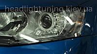 """Skoda Octavia A7 - установка би-ксеноновых линз Moonlight EVO-2 +50% LIGHT и """"ангельских глазок"""" LED-COB 80мм"""