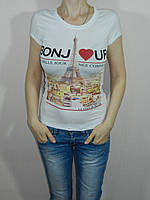 Короткая футболка стрейч белая Bonjour размер 42-46 Турция