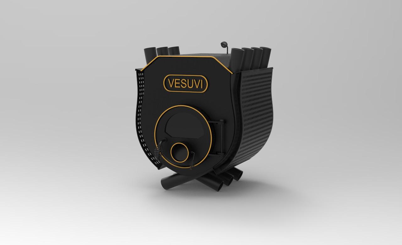 Печь калориферная VESUVI с варочной поверхностью тип 01 со стеклом+перфорация  - 250м3