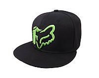Черная кепка FOX с салатовым логотипом