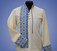 Вышиванка мужская на льне с синей вышивкой