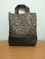 """Прикольная женская сумка """"Кофе"""".Размер: 34х40 см"""