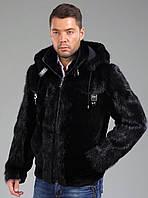 Куртка из меха бобра с капюшоном, длина 75 см