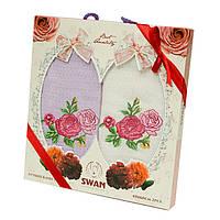 Подарочный набор кухонных полотенец в коробке Swan Роза, Лаванда вафельные 2*45x65, фото 1