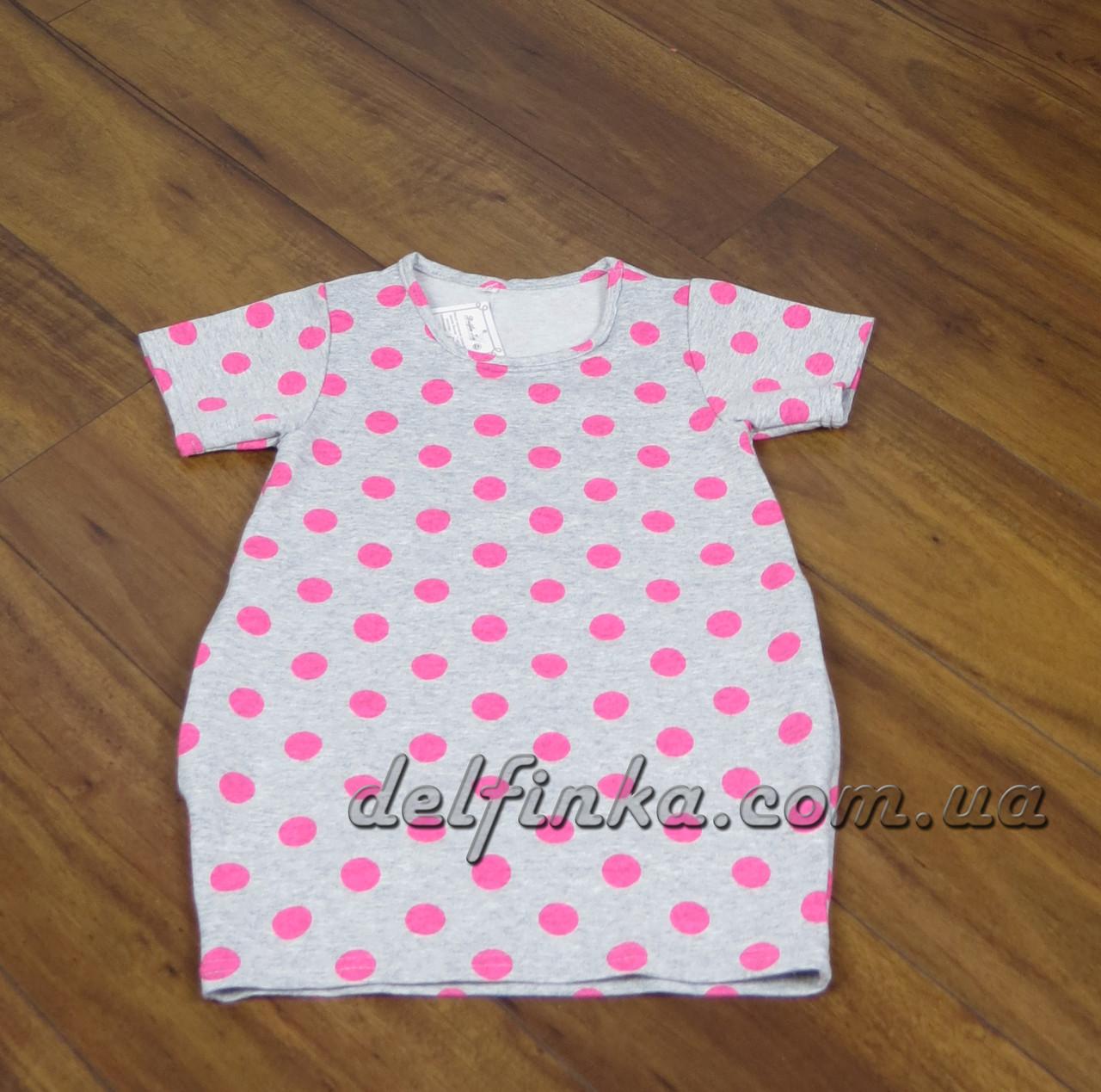 Трикотажная туника - платье с карманами для девочки от 3-6 лет, фото 2