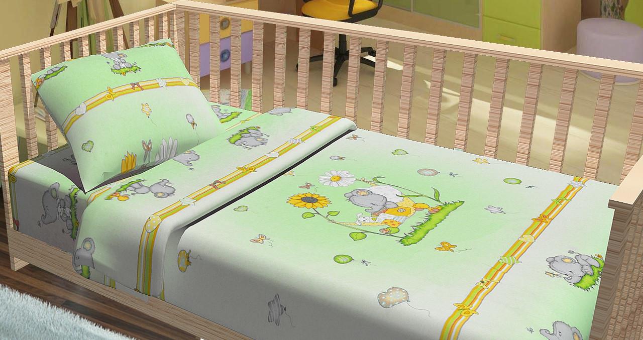 Сменный постельный комплект в кроватку «Слоненята» (Зеленый), Top Dreams