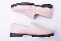 Туфли из натуральной кожи №307-2 пудра, фото 1