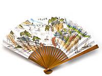 Веер бамбук и и бумага с рисунком