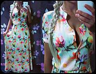Белое платье длины макси с цветочным принтом(арт.84306815)