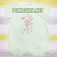 Детский песочник-футболка р. 74 ткань КУЛИР 100% тонкий хлопок ТМ Алекс 3094 Зеленый