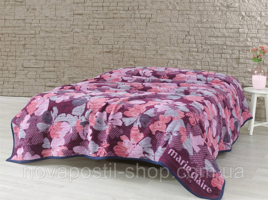 Плед-покрывало Marie Claire CAMOUFLAGE бордовое 200*220
