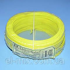 Провід монтажний мідний LgY 1*0,5 мм. кв H05V-K Elektrokabel жовтий KAB0844 / бухта 100м