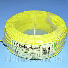 Провід монтажний мідний LgY 1*1,0 мм. кв H05V-K Elektrokabel жовтий KAB0864 / бухта 100м