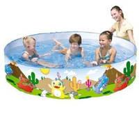 Бассейн intex 55022, Динозаврики, детский наливной бассейн, 183 х 38 см, 750 л, каркасный детский бассейн