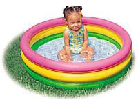 Детский бассейн Радуга, бассейн Intex 57412 ,Надувное Дно! + ремкомплект, 114 х 25 см