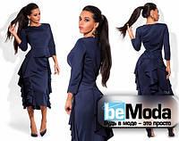 Шикарный женский костюм из блузы и юбки с воланами темно-синий