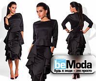 Шикарный женский костюм из блузы и юбки с воланами черный
