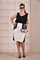 Чёрное белое платье батал летнее деловое 770275-1, размеры  42, 44, 46, 48, 50, 52