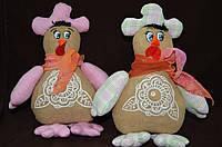 """Шитая авторская игрушка - украшение для корзины """"Курочка-кокетка с шарфиком"""" 21*20 см (ручная работа)"""