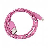 Кабель Lightning Apple/USB (1м, разные цвета) тканевой  Розовый