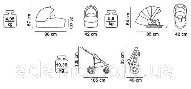 размеры коляски 2 в 1  Tako MaxOne