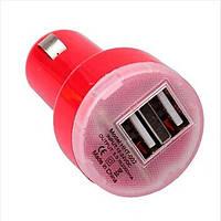 Зарядка автомобильная (2 USB) разные цвета Красный