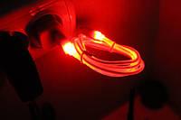 Кабель USB to micro USB (с подсветкой, 1 м) Красный