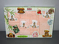 Подарочный набор детский 5 предметов халат, слюнявчик, полотенце уголок 70*70, перчатка Turkiz Bamboo