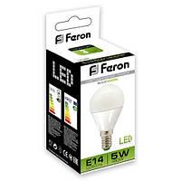 Светодиодная LED лампа шар Feron LB95 5W Е14/Е27 (для дома, дачи, офиса) 4000К (нейтральный белый), Е14