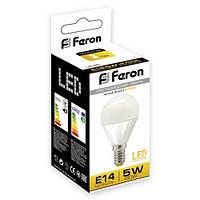 Светодиодная LED лампа шар Feron LB95 5W Е14/Е27 (для дома, дачи, офиса) 2700К (теплый белый), Е14