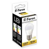 Светодиодная LED лампа шар Feron LB95 5W Е14/Е27 (для дома, дачи, офиса) 2700К (теплый белый), Е27