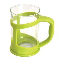 """Чашка для кофе/чая стекл., в подставке """"лайм"""", (2 шт.) 1106840 BergHOFF"""