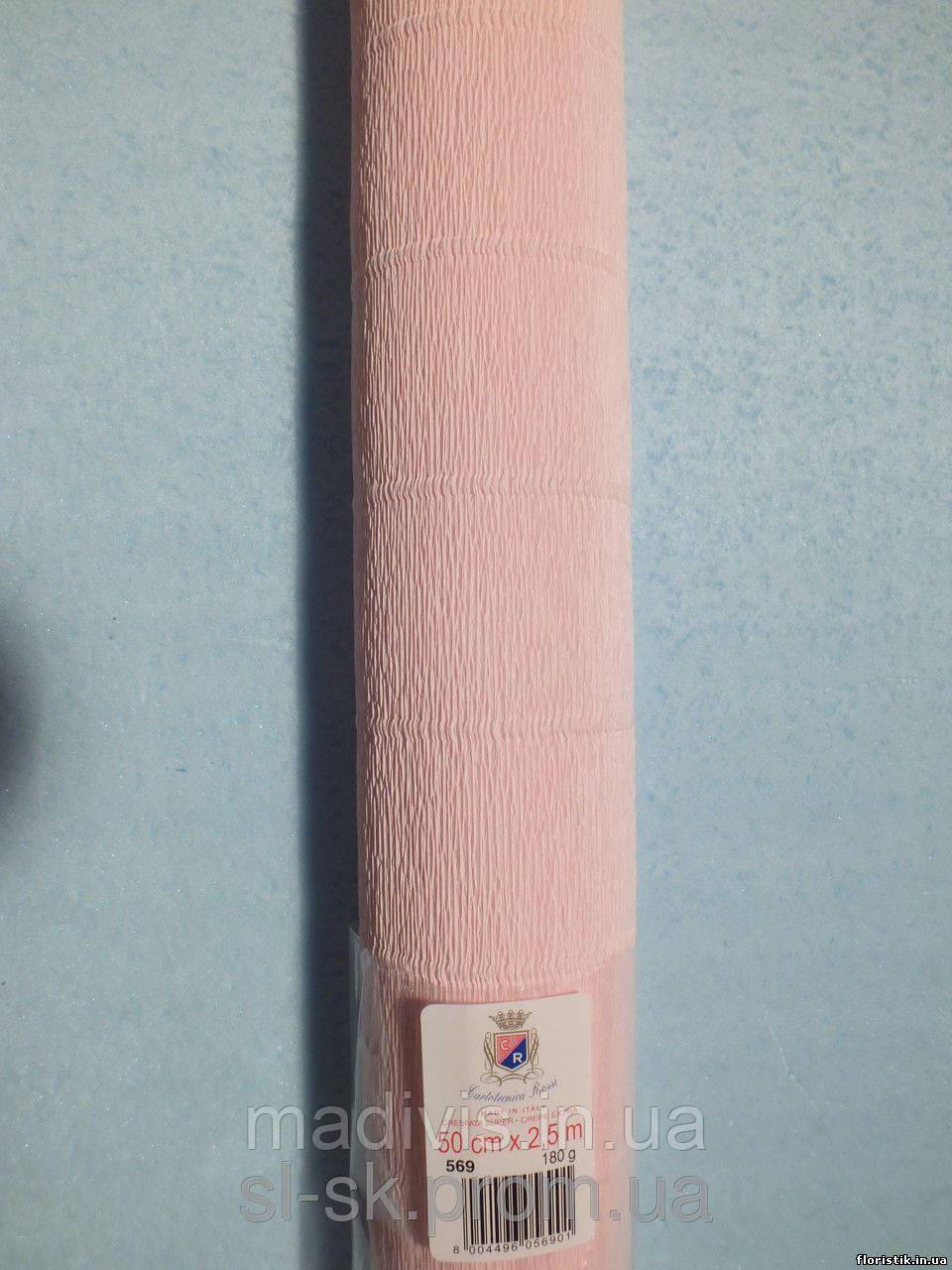 Бумага гофрированная, 569 бледно-розовая