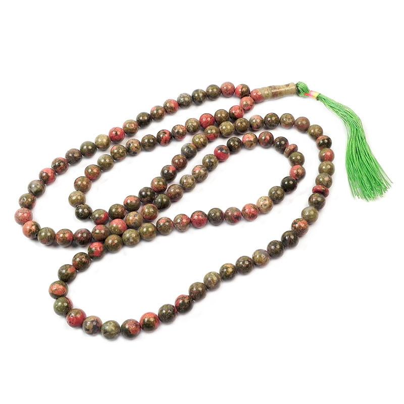 Четки из Яшмы Унакит на 108 камней