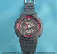 Детские часы Casio BabyG BA-111 5338 (113956) серые с розовым водонепроницаемые с календарем и подсветкой