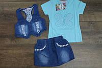 Джинсовый костюм- тройка для девочек 4- года, фото 1