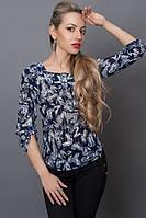 Летняя блуза из шифона с модным принтом р 40-48