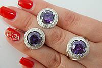 Комплект ювелирных украшений из серебра 925 и крупным камнем