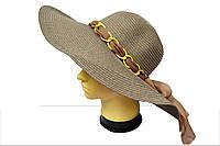 """Женская шляпа с декором из цепочоки """"Марго MZ1513"""" кофе"""